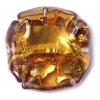 Glass Lamp Bead 26mm Round Flat Cut Topaz/Bronze